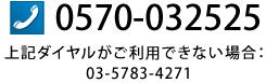 0570-032525 上記ダイヤルがご利用できない場合:03-5783-4271